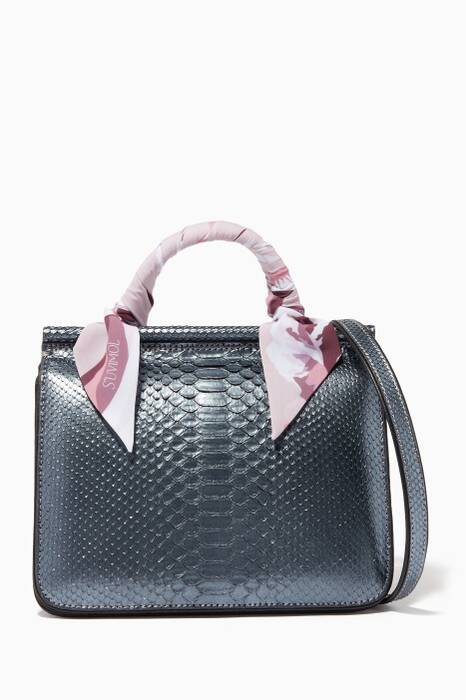 Metallic Dark-Grey Mini Stella Top Handle Bag
