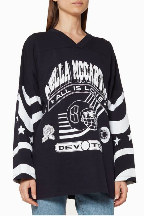 Navy Oversized Printed Hockey Top