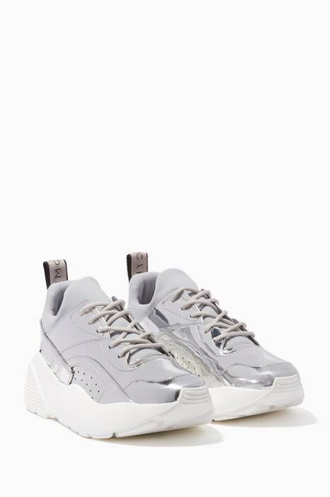 Silver Eclypse Lace-Up Sneakers