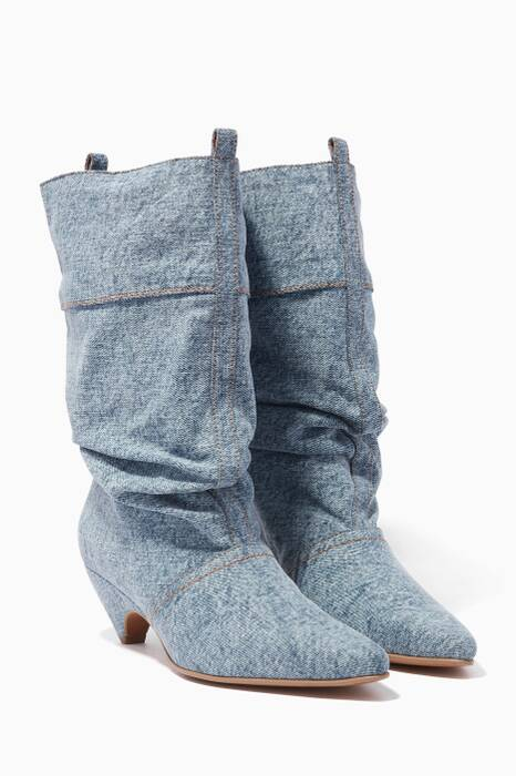 Blue Denim Slouch Boots