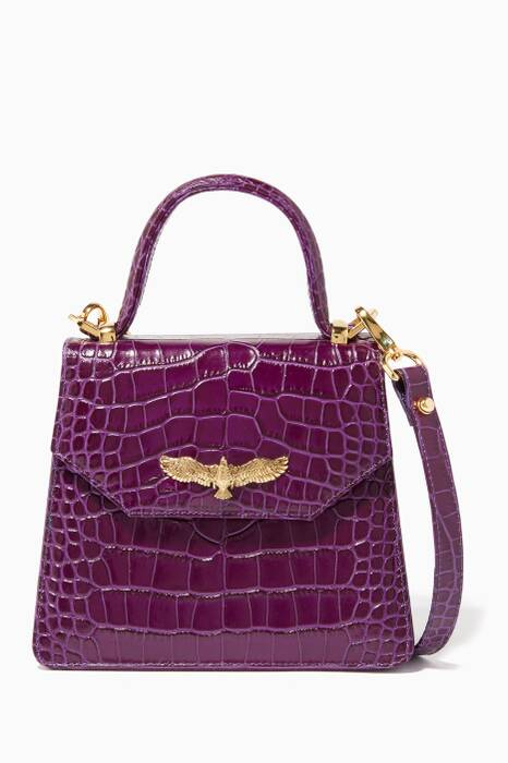 Purple Baby Joyce Croc-Embossed Top Handle Bag