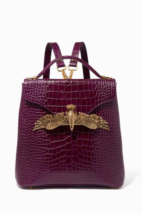 Purple Croc-Embossed Leather Backpack