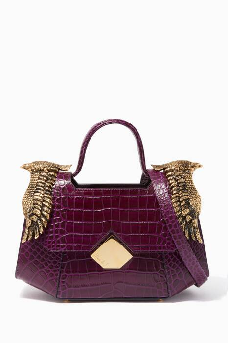 Dark-Purple Baby Colonel Croc-Embossed Top Handle Bag