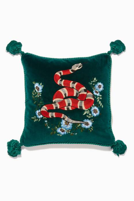 Peacock Velvet Kingsnake Cushion