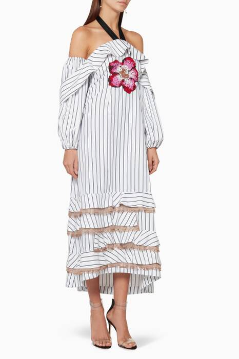 White Striped Ruffled Midi Dress