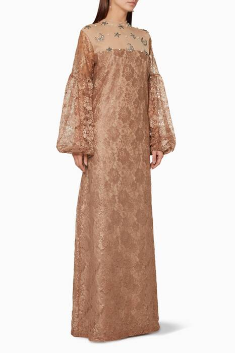 Dark-Beige Lace Embellished Dress