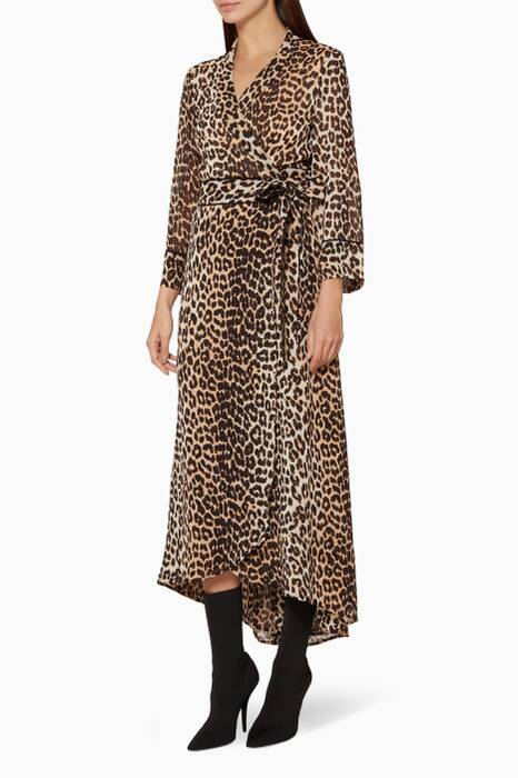 Brown Leopard Printed Fairfax Georgette Dress