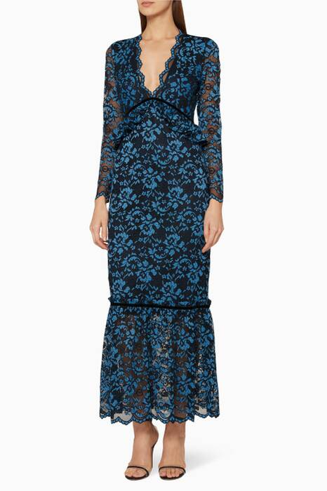 Navy Floral Lace Flynn Dress