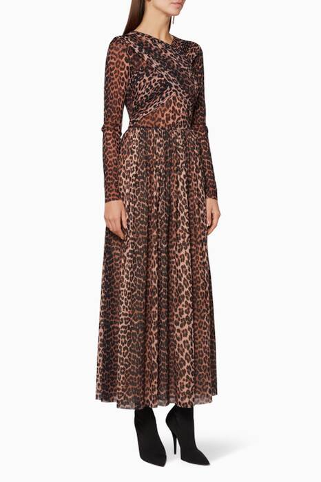 Brown Leopard Printed Tilden Dress