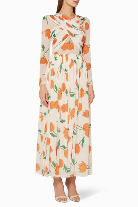 Off-White Floral Printed Tilden Dress