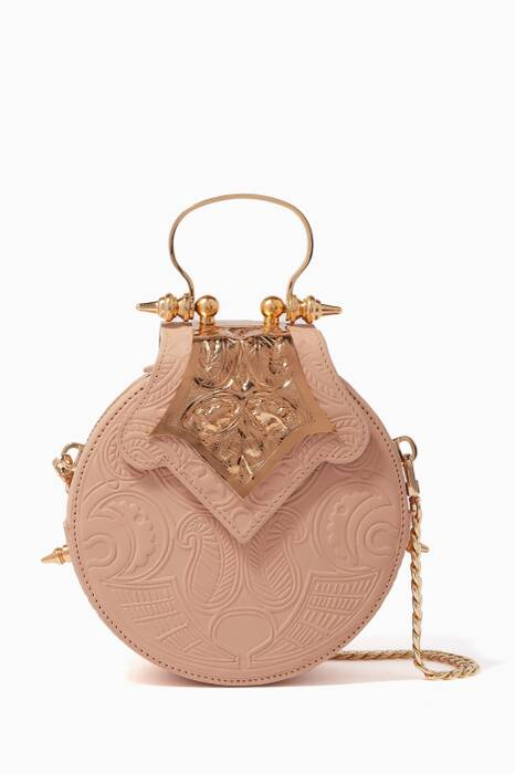 Light-Beige Mini Dome Top-Handle Bag
