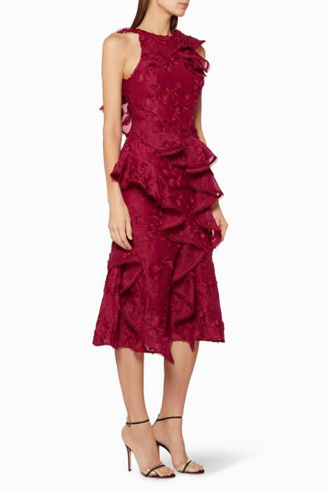 Burgundy Ruffled Shine Midi Dress