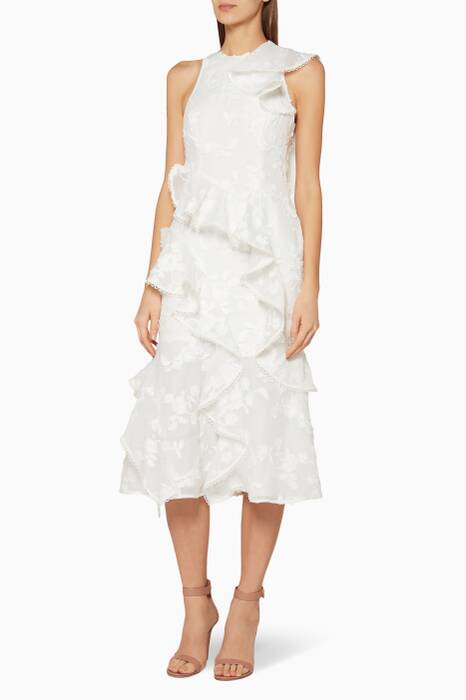 Ivory Ruffled Shine Midi Dress