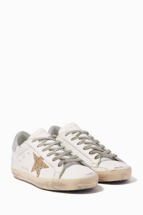 White & Gold Glitter-Embellished Low-Top Superstar Sneakers