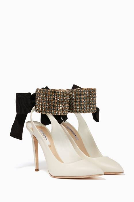 White Magicienne Bijou Point-Toe Pumps