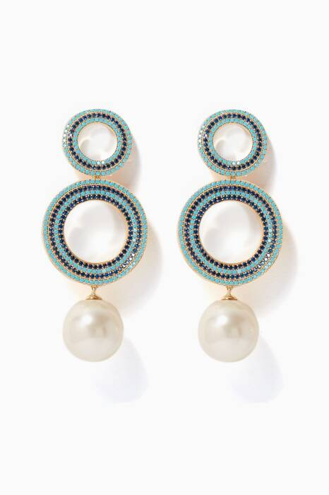 Aqua Gromments Pave Pearl Earrings