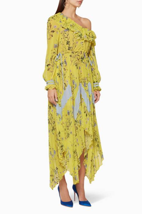 Yellow Floral Printed Pleated Dress