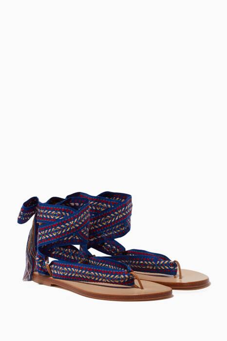 Blue Spetses Embroidered Sandals