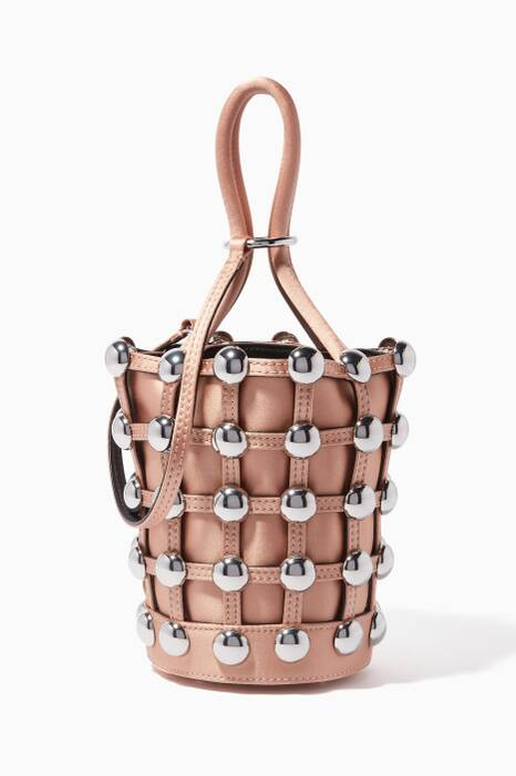 Beige Mini Roxy Cage Bucket Bag