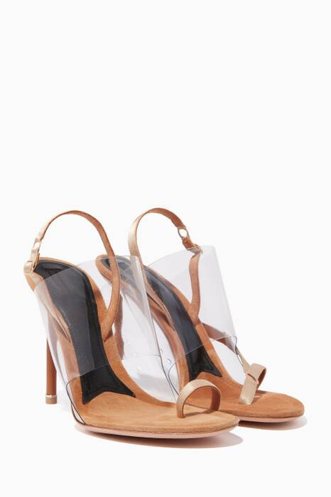 Light Beige Kaia Satin Slingback Sandals