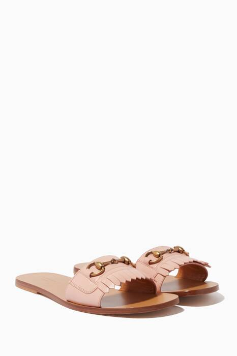Light-Pink Fringe Leather Horsebit Slides