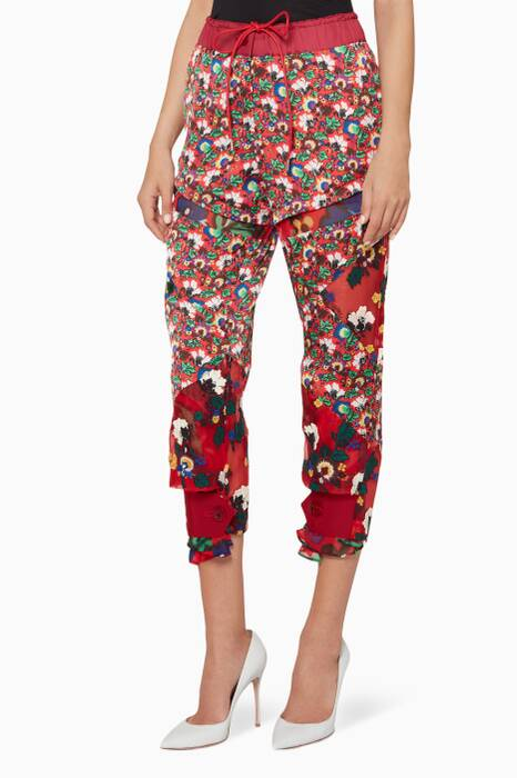 Red Floral-Print Cropped Pants