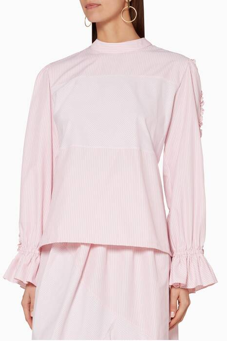 Pink Striped Ruffled Top