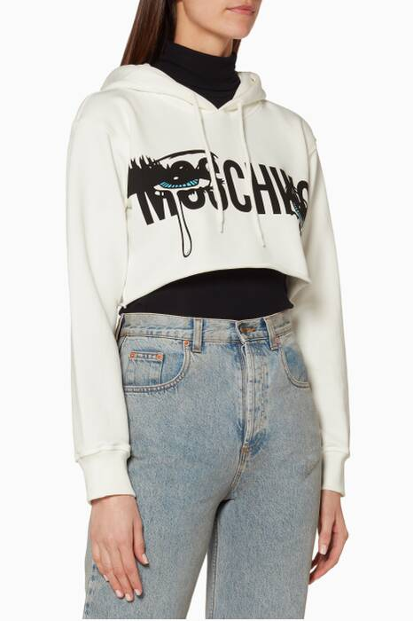 White Eyes Cropped Hooded Sweatshirt