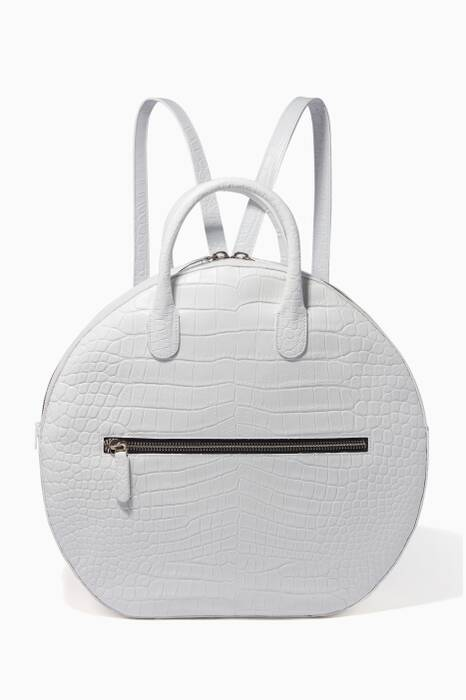 White Brass Drum Croc-Effect Top Handle Bag