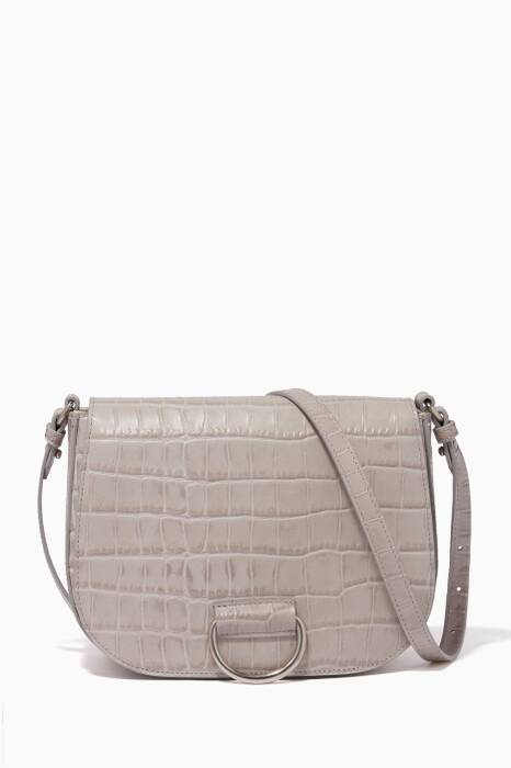 Grey Medium D Saddle Croc-Embossed Cross-Body Bag