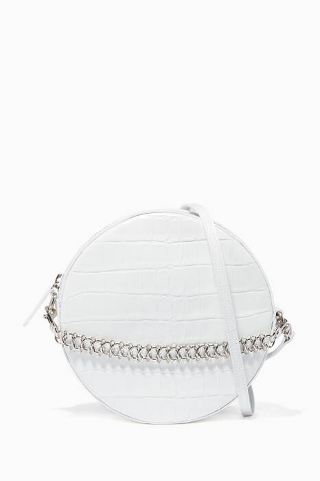 White Tambourine Croc-Embossed Cross-Body Bag