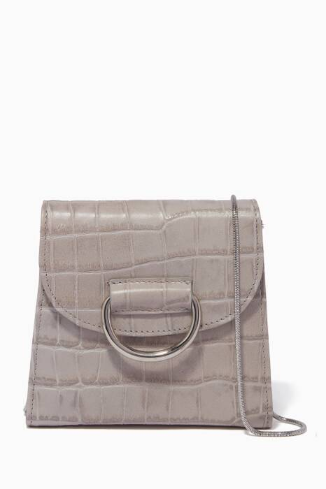 Grey Tiny Box D Croc-Embossed Cross-Body Bag
