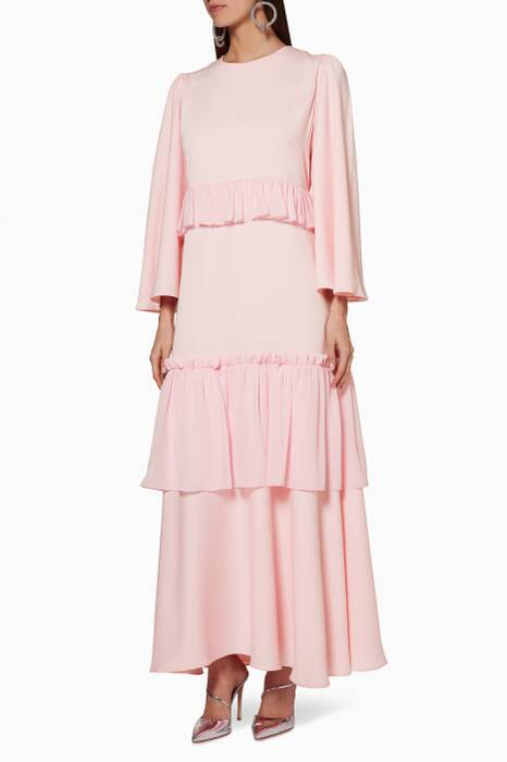 Light-Pink  Long-Sleeve Tiered Ruffle Dress