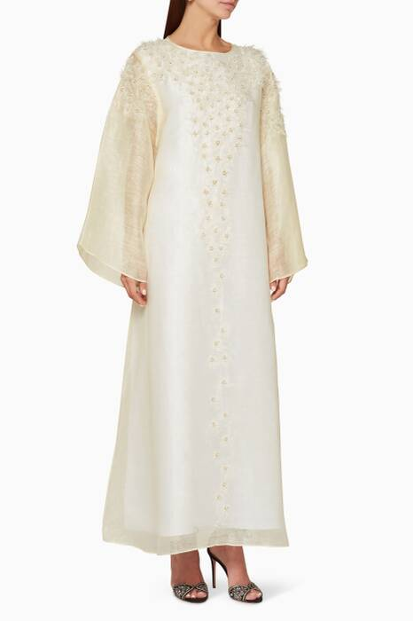 Cream Pearl-Embellished Long-Sleeve Kaftan