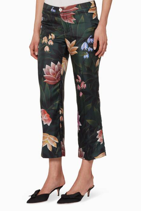 Dark-Green Floral-Print Pants