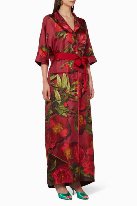 Burgundy Floral-Print Eurinome Robe