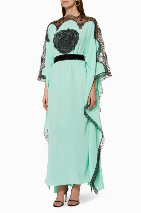 Light-Green Lace-Trimmed Kaftan