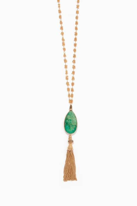 Gold Chain Tassel Stone Necklace