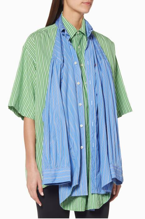 Green & Blue City Stripes Double Shirt