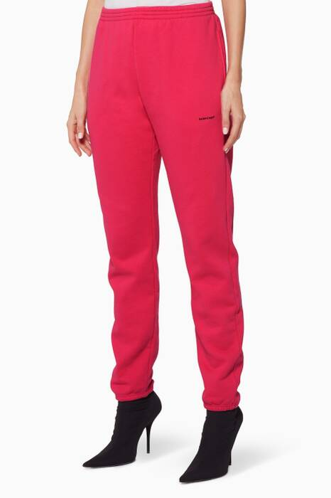 Pink Brushed Logo Jogger Pants