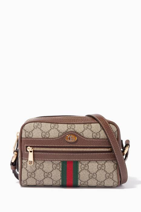 Beige Mini Ophidia GG Printed Camera Bag