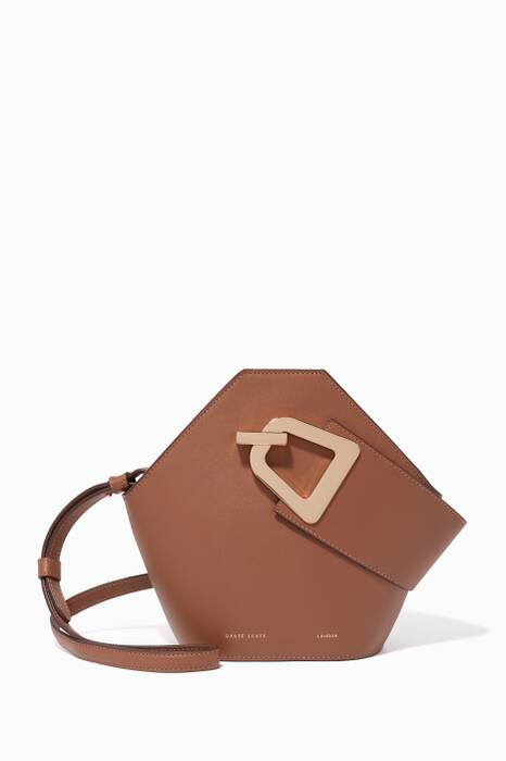 Maple-Brown Leather Mini Johnny Bucket Bag