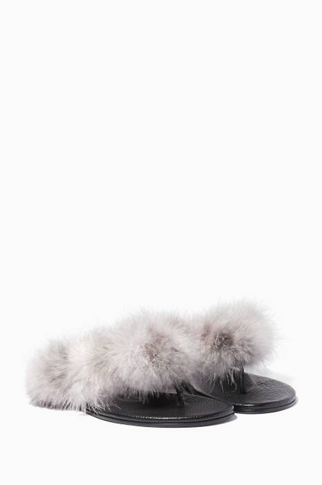 Grey Mykonos Faux-Fur Sandals