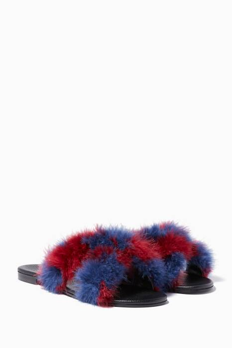 Navy & Burgundy St Tropez Faux-Fur Slides