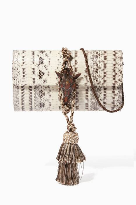 Natural Snakeskin & Giraffe-Head Box Clutch Bag