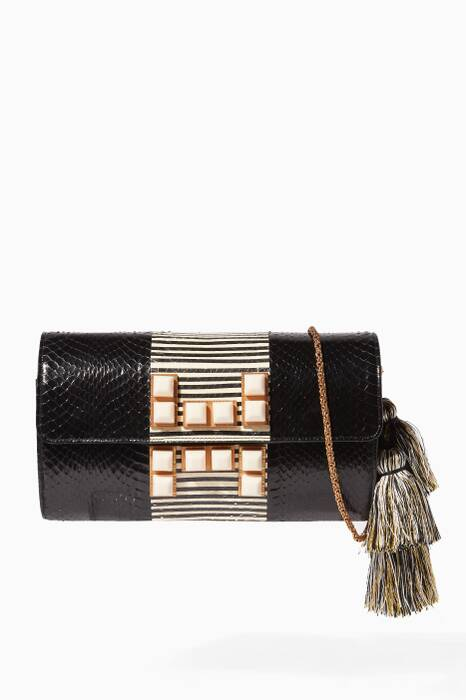 Black Stud-Embellished Snakeskin Shoulder Bag