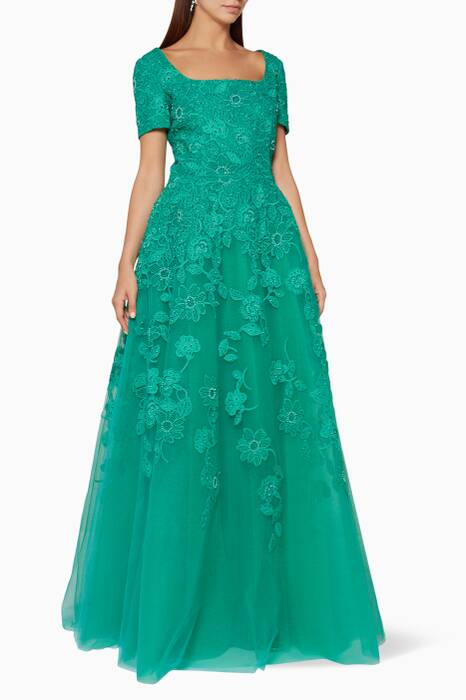 Opal Guipure Embellished Evening Gown