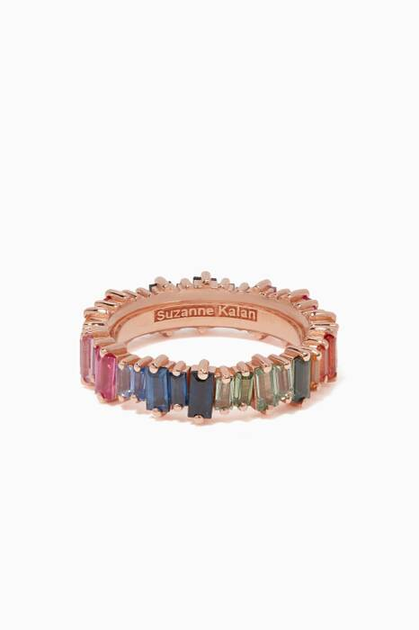 Rose-Gold & Rainbow Baguette Ring