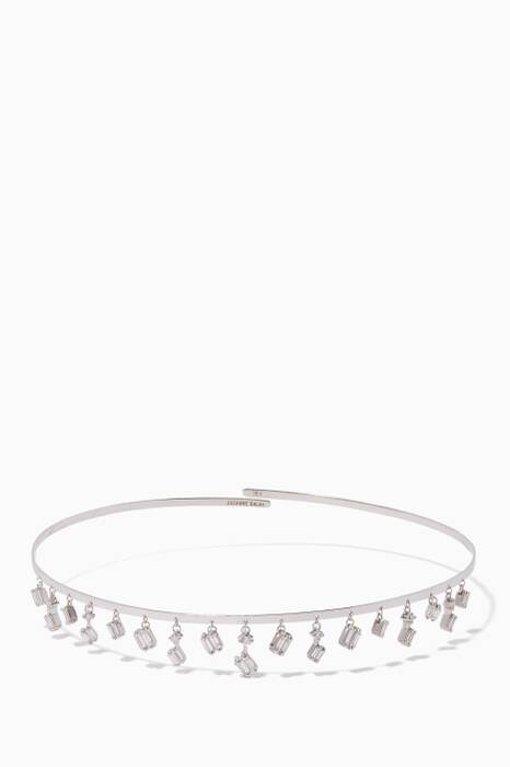 White-Gold & Diamond Baguette Cascading Wire Choker