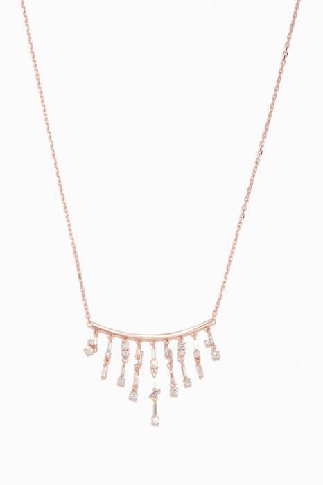 Rose-Gold & White Diamond Baguette Dangling Necklace